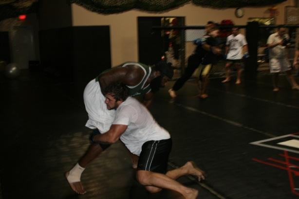 (Phil Baroni training with Kimbo Slice)